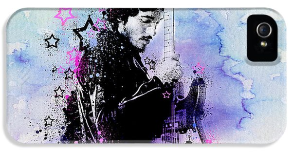 Bruce Springsteen Splats And Guitar 2 IPhone 5 Case by Bekim Art