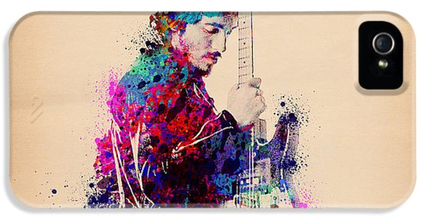 Bruce Springsteen Splats And Guitar IPhone 5 Case by Bekim Art