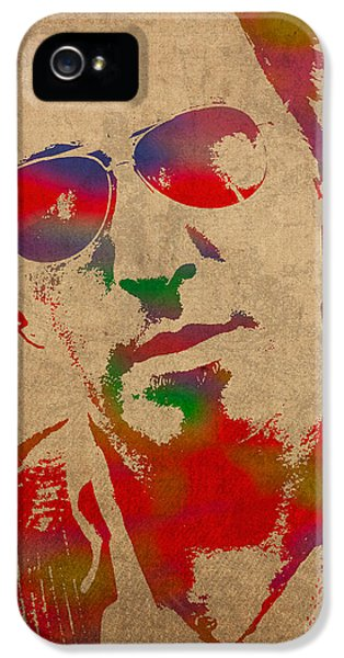 Musician iPhone 5 Case - Bruce Springsteen Watercolor Portrait On Worn Distressed Canvas by Design Turnpike