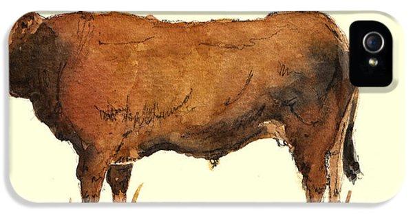Bull iPhone 5 Case - Bull by Juan  Bosco
