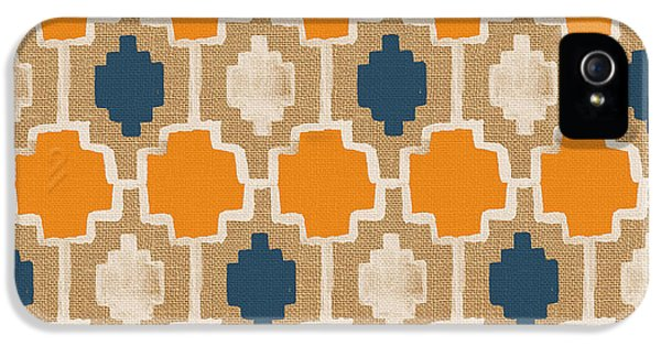 Burlap Blue And Orange Design IPhone 5 Case by Linda Woods