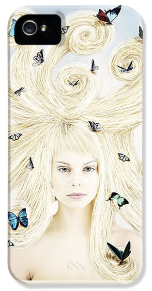 Butterfly Girl IPhone 5 Case by Linda Lees