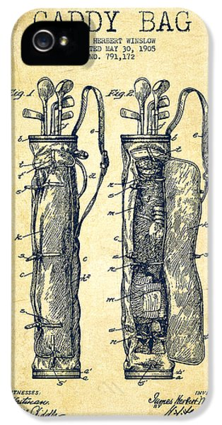 Golf iPhone 5 Case - Caddy Bag Patent Drawing From 1905 - Vintage by Aged Pixel