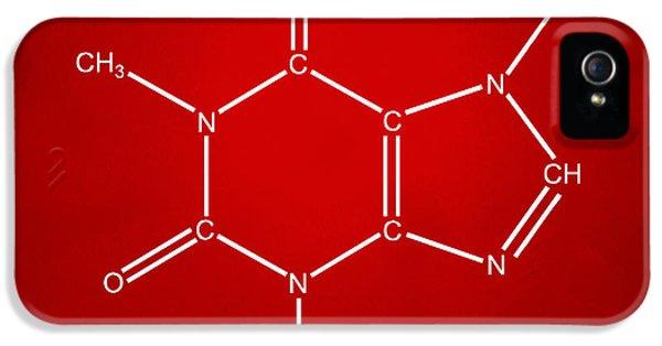 Caffeine Molecular Structure Red IPhone 5 Case by Nikki Marie Smith