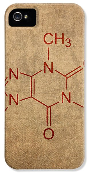Caffeine Molecule Coffee Fanatic Humor Art Poster IPhone 5 Case by Design Turnpike