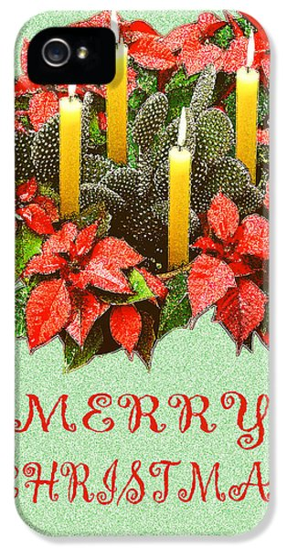 California Cactus Christmas IPhone 5 Case by Mary Helmreich