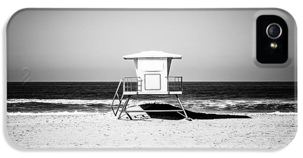California Lifeguard Tower Black And White Picture IPhone 5 Case by Paul Velgos
