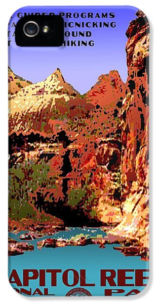 Capitol Reef National Park Vintage Poster IPhone 5 Case by Eric Glaser