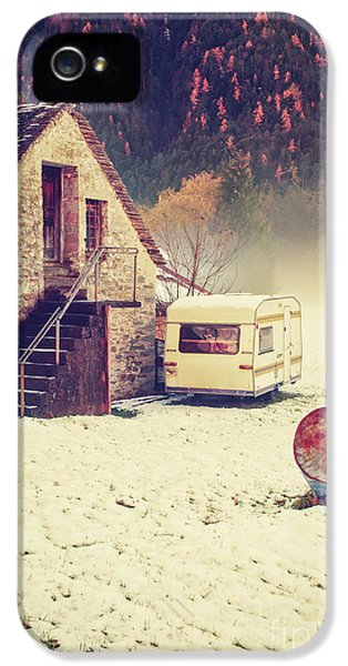Caravan In The Snow With House And Wood IPhone 5 Case by Silvia Ganora