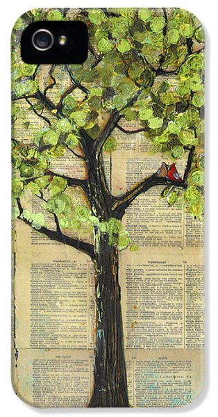 Cardinals In A Tree IPhone 5 Case by Blenda Studio