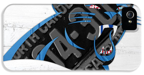 Panther iPhone 5 Case - Carolina Panthers Football Team Retro Logo Recycled North Carolina License Plate Art by Design Turnpike