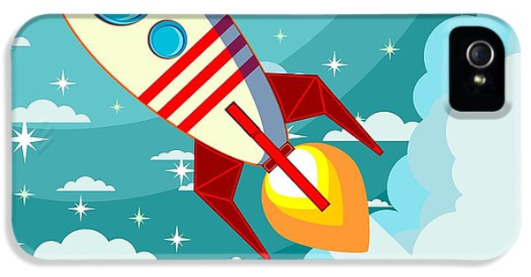 Fairy iPhone 5 Case - Cartoon Rocket Taking Off Against The by Alekseiveprev