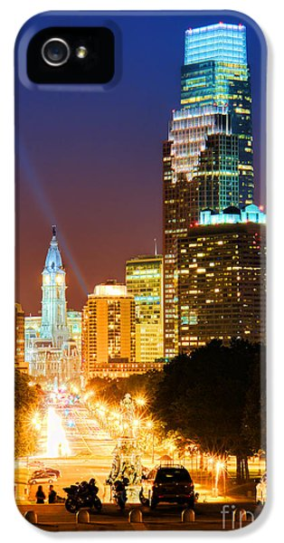Center City Philadelphia Night IPhone 5 Case by Olivier Le Queinec