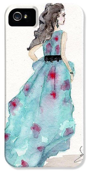 Cerulean Blue Fashion Sketch Dress IPhone 5 Case by Janelle Nichol