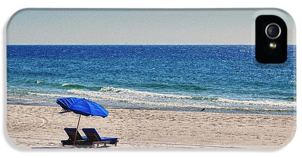 Chairs On The Beach With Umbrella IPhone 5 Case by Michael Thomas