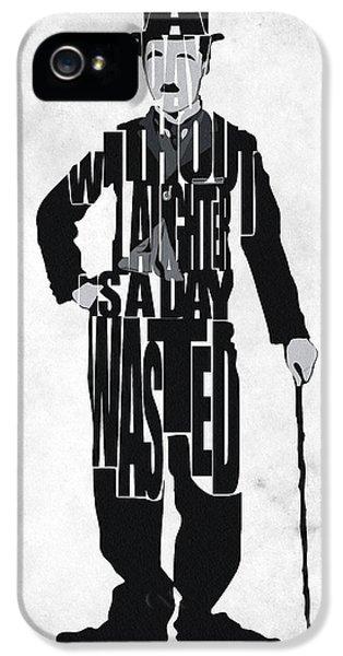 Charlie Chaplin Typography Poster IPhone 5 Case by Ayse Deniz