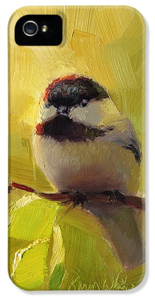 Chatty Chickadee - Cheeky Bird IPhone 5 Case by Karen Whitworth