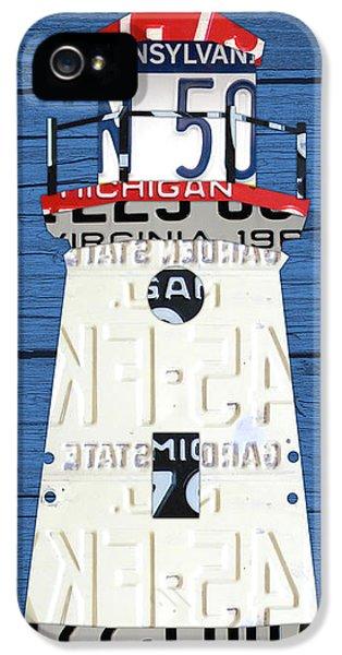 Cheboygan Crib Lighthouse Michigan Vintage License Plate Art On Wood IPhone 5 Case by Design Turnpike