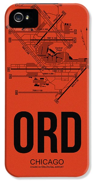 Town iPhone 5 Case - Chicago Airport Poster 1 by Naxart Studio