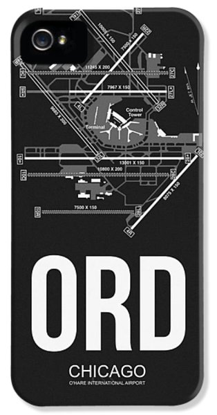 Town iPhone 5 Case - Chicago Airport Poster by Naxart Studio
