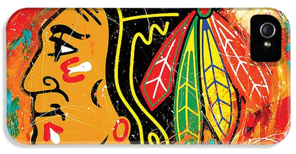 Hawk iPhone 5 Case - Chicago Blackhawks Logo by Elliott From