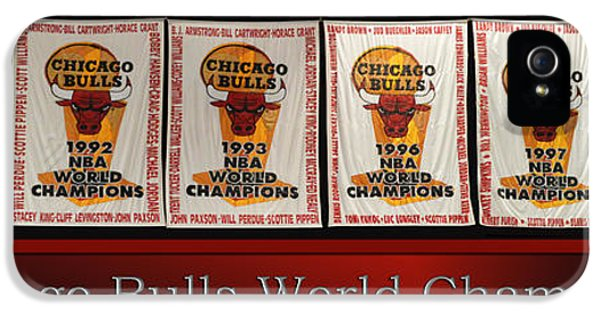 Chicago Bulls World Champions Banners IPhone 5 Case by Thomas Woolworth