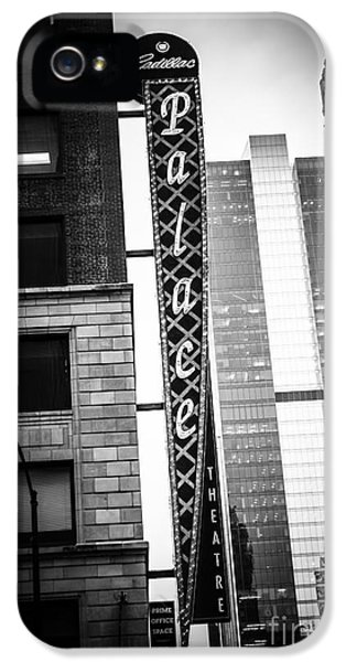Chicago Cadillac Palace Theatre Sign In Black And White IPhone 5 Case