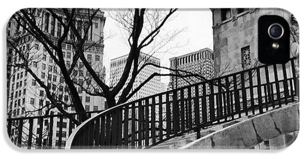 Architecture iPhone 5 Case - Chicago Staircase Black And White Picture by Paul Velgos