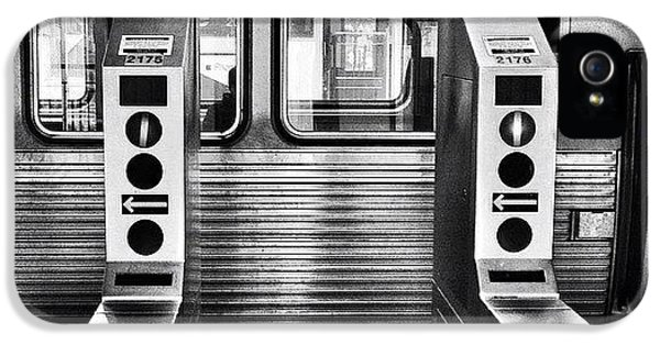 City iPhone 5 Case - Chicago L Train Gate In Black And White by Paul Velgos