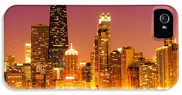Hancock Building iPhone 5 Case - Chicago Night Skyline With John Hancock Building by Paul Velgos