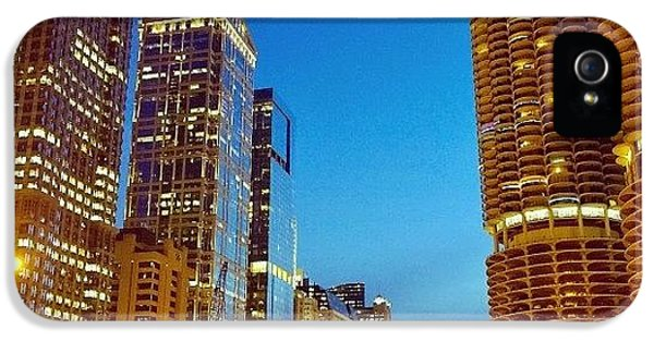 City iPhone 5 Case - Chicago River Buildings At Night Taken by Paul Velgos