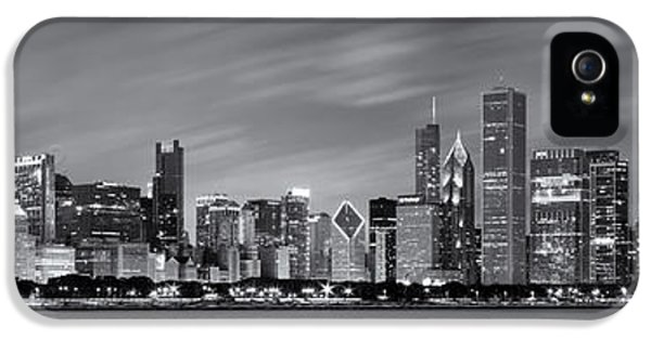Chicago Skyline At Night Black And White Panoramic IPhone 5 Case by Adam Romanowicz