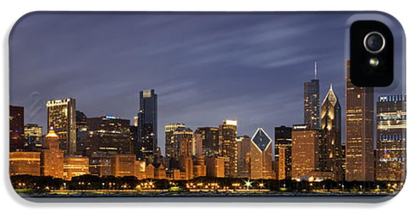 Chicago Skyline At Night Color Panoramic IPhone 5 Case by Adam Romanowicz
