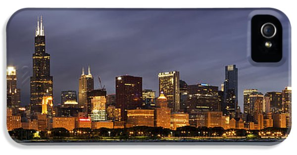Office Buildings iPhone 5 Case - Chicago Skyline At Night Color Panoramic by Adam Romanowicz