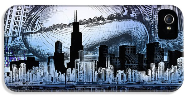 Chicago Skyline Drawing Collage 2 IPhone 5 Case