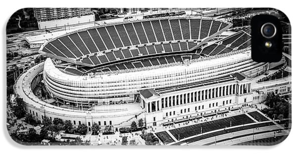 Chicago Soldier Field Aerial Picture In Black And White IPhone 5 Case by Paul Velgos