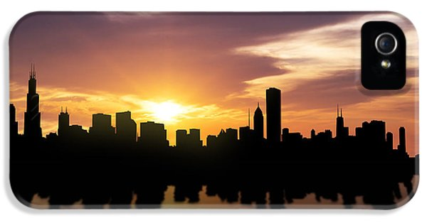 Chicago Sunset Skyline  IPhone 5 Case by Aged Pixel