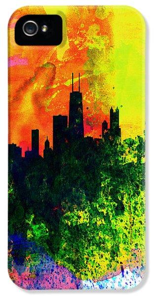 University Of Illinois iPhone 5 Case - Chicago Watercolor Skyline by Naxart Studio