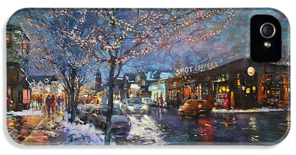 Christmas Lights In Elmwood Ave  IPhone 5 Case by Ylli Haruni