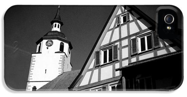 House iPhone 5 Case - Church And Half-timbered House In Lovely Old Town by Matthias Hauser