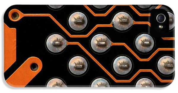 Circuit Board Tin Contacts IPhone 5 Case by Antonio Romero