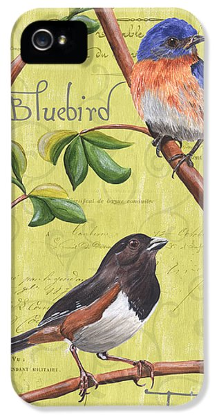 Bluebird iPhone 5 Case - Citron Songbirds 1 by Debbie DeWitt