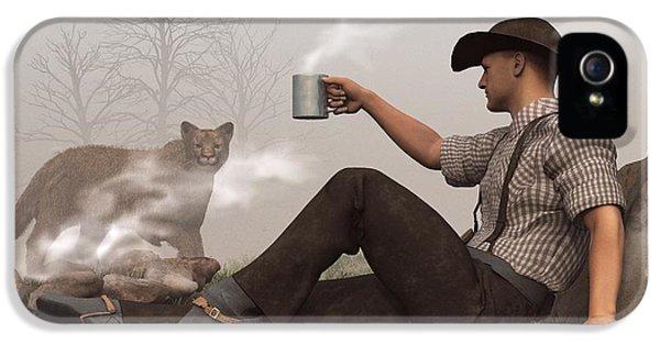 Coffee With A Cougar IPhone 5 Case by Daniel Eskridge