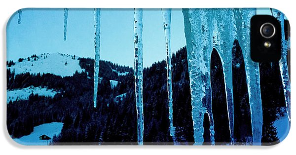 Blue iPhone 5 Case - Cold Outside - Icicles In Winter by Matthias Hauser