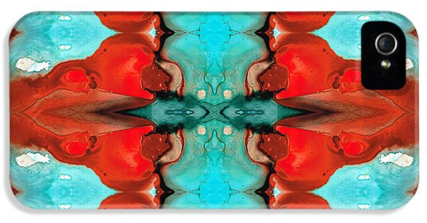 Color Chant - Red And Aqua Pattern Art By Sharon Cummings IPhone 5 Case by Sharon Cummings