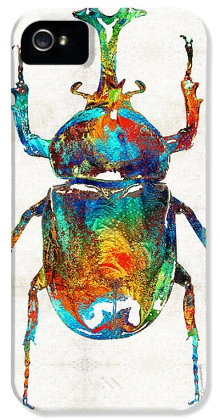 Colorful Beetle Art - Scarab Beauty - By Sharon Cummings IPhone 5 Case by Sharon Cummings