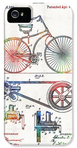 Colorful Bike Art - Vintage Patent - By Sharon Cummings IPhone 5 Case by Sharon Cummings