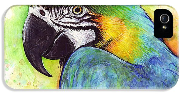 Parrot iPhone 5 Case - Macaw Watercolor by Olga Shvartsur