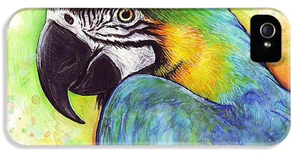 Macaw Watercolor IPhone 5 Case by Olga Shvartsur