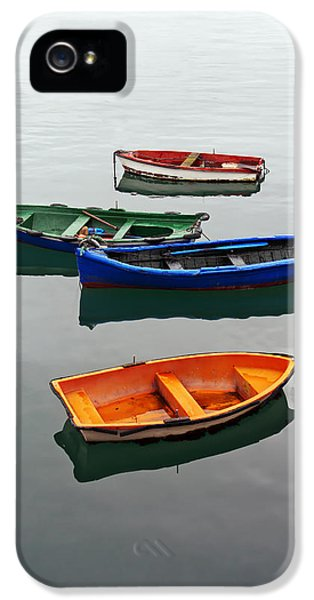 colorful boats on Santurtzi IPhone 5 Case by Mikel Martinez de Osaba
